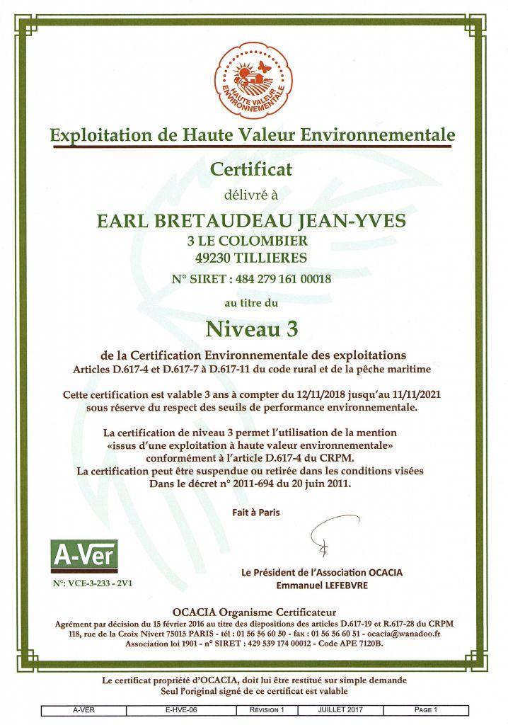 Certificat HVE 2018-2021 EARL BRETAUDEAU JY